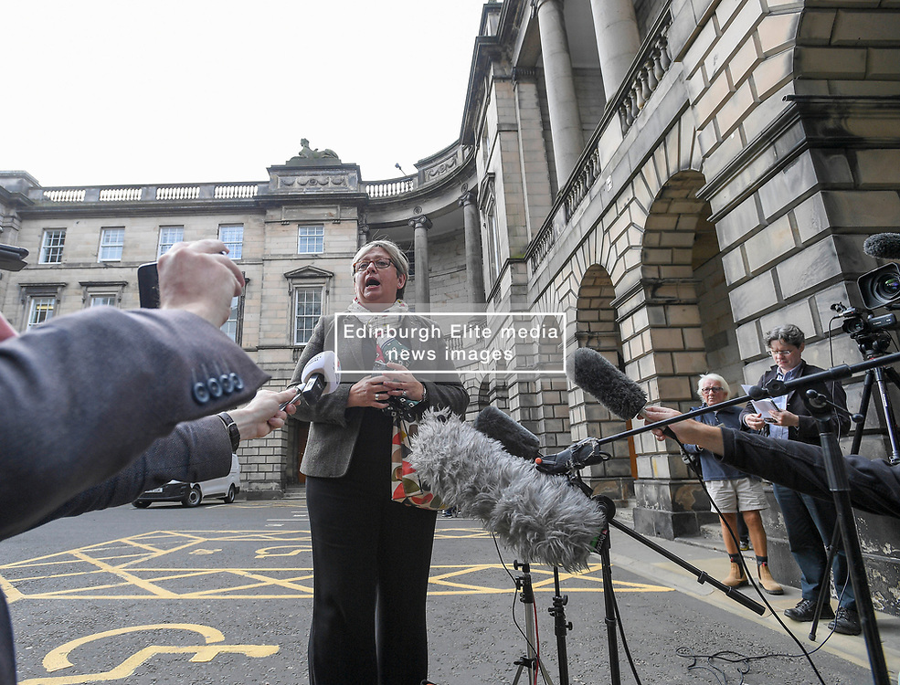 Pictured: SNP Joanna Cherry, one of the politicians who brought the court action, speaks to the media after the judgement.<br /> <br /> Lord Doherty, sitting in the Court of Session, today dismissed a cross party group of politicians bid for an interim interdict preventing the UK government and Prime Minister Boris Johnson from proroguing parliament.<br /> <br /> © Dave Johnston / EEm