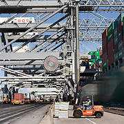 Nederland Zuid-Holland Rotterdam  27-08-2009 20090827 Foto: David Rozing .Serie over logistieke sector..ECT Delta terminal in de haven van Rotterdam. Robotgestuurde wagens vervoeren de containers op de terminal. Onbemande wagens in de rij bij de hijskranen, deze tillen de containers op het zeeschip. Reusachtige zeeschepen aan de kade om gelost en geladen te worden Bestuurder vorkheftruck..ECT,European Container Terminals, at the Port of Rotterdam. Europe's biggest and most advanced container terminal operator, handling close to three- quarters of all containers passing through the Port of Rotterdam. ECT is a member of the Hutchison Port Holdings group (HPH), the world biggest container stevedore with terminals on every Continent. At the ECT Delta Terminal unmanned, automated guided vehicles  so called AGVs  transport the containers between ship and stack. In the stack, unmanned automated stacking cranes ( ASCs ) ensure that the containers are always stacked in the correct place. A crane loads shipping containers to the cargo ship. Terminal operations are highly automated for discharging and loading large volumes , Rozing, scheepsvaart, Scheepvaart, schepen, schip, seaport, Ship, shipping, stuwadoor, terminal, trade, trading, transport, transport over water, transportation, transporteren, transporteur, transporteurs, transportmiddel, transportwerktuigen, truck, trucks, turnaround tijd, tweede Maasvlakte, uitbreiding, uitvoer, vaart, vehicle, verplaatsen, vervoer, vervoer per schip, vervoerder, Vervoerders, vervoeren, voertuig, voertuigen, vrachtschepen, vrachtschip, wagen, wagens, wagon, wagons, water, waterhuishouding, welvaart, wereldhandel, werk, werken, werkgelegenheid, werknemer, werknemers, werkzaamheden, work, zeehaven, zeehavens, zeeschepen, zeeschip, zeevaart.Holland, The Netherlands, dutch, Pays Bas, Europe .Foto: David Rozing
