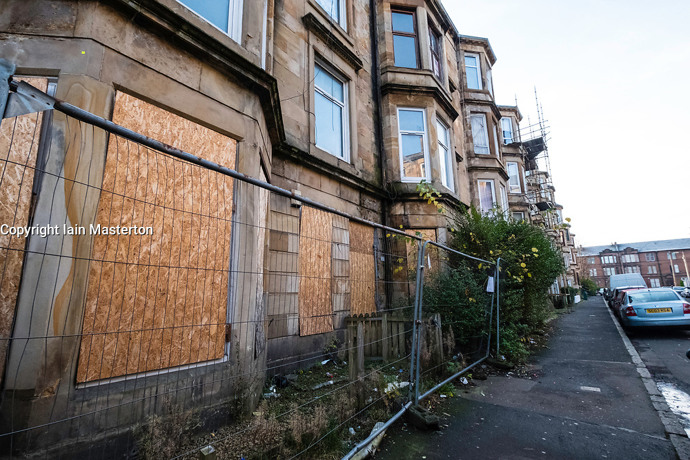 Condemned tenement apartment building awaiting demolition  in deprived Govanhill district of Glasgow, Scotland, United Kingdom