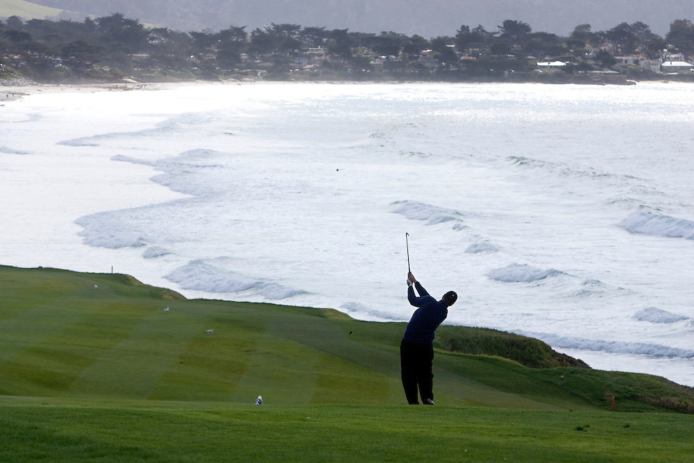 Greg Chalmers hits on the 9th fairway at Pebble Beach during the 2009 AT&T Pebble Beach Pro AM