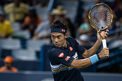 August 15, 2018 - Mason, OH, U.S. - CINCINNATI, OH - AUGUST 15:   Kei Nishikori (JPN) hits a slice shot during Day 4 of the Western and Southern Open at the Lindner Family Tennis Center on August 15, 2018 in Mason, Ohio. (Photo by Shelley Lipton/Icon Sportswire) (Credit Image: © Shelley Lipton/Icon SMI via ZUMA Press)