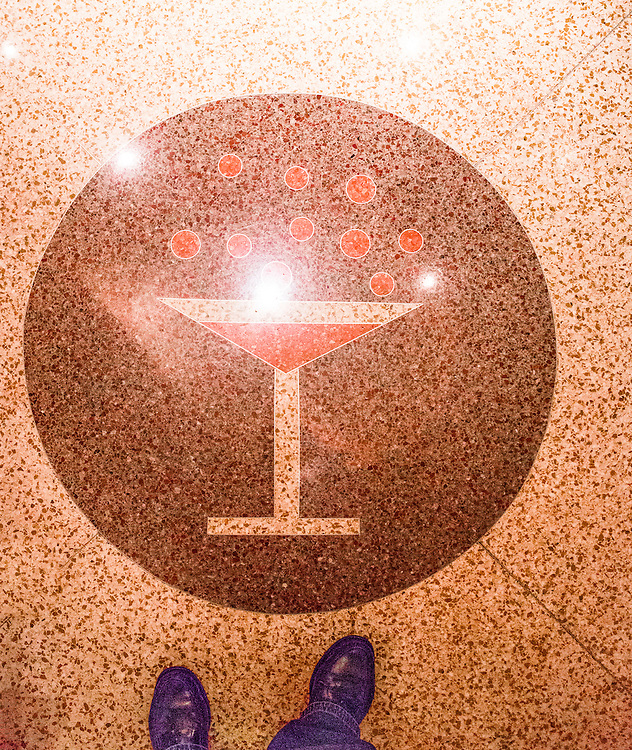The Florida terrazzo floor in The Raleigh Hotel's  Art Deco-style Martini Bar was designed  by architect L. Murray Dixon in 1940.