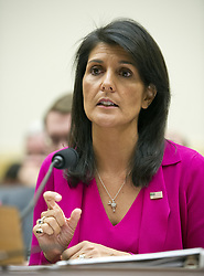June 28, 2017 - Washington, District of Columbia, United States of America - United States Ambassador to the United Nations Nikki Haley gives testimony before the US House Foreign Affairs Committee on ''Advancing US Interests at the United Nations'' on Capitol Hill in Washington, DC on Wednesday, June 28, 2017..Credit: Ron Sachs / CNP (Credit Image: © Ron Sachs/CNP via ZUMA Wire)