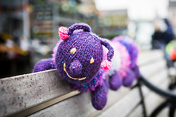 © Licensed to London News Pictures. 27/04/2016. Thirsk UK. Picture shows  a knitted Caterpillar on a bench in Thirsk that has been Yarn Bombed. Under the cover of Darkness 300 Yarn bombing street artist's have covered the Town centre of Thirsk, the group has covered bollards, flower pots, the bus stop, tree's, benches, even the local police station. The knitted creations took over 750 balls of wool & have been placed along the route of the Tour De Yorkshire which will pass through the town during it's final stage from Middlesborough to Scarborough on Sunday.  Photo credit: Andrew McCaren/LNP