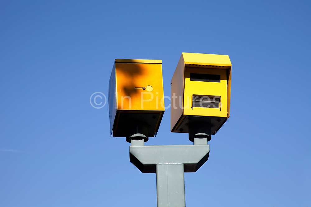 Yellow speed cameras on Victoria Embankment, Westminter, London.