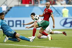 (l-r) goalkeeper Monir El Kajoui of Morocco, Sardar Azmoun of IR Iran, Nordin Amrabat of Morocco