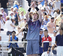 September 4, 2017 - New York, New York, United States - Andrey Rublev of Russia celebrates victory against David Goffin of Belgium at US Open Championships at Billie Jean King National Tennis Center  (Credit Image: © Lev Radin/Pacific Press via ZUMA Wire)
