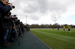 A general view of the media watching the training session at Tottenham Hotspur Football Club Training Ground, London.