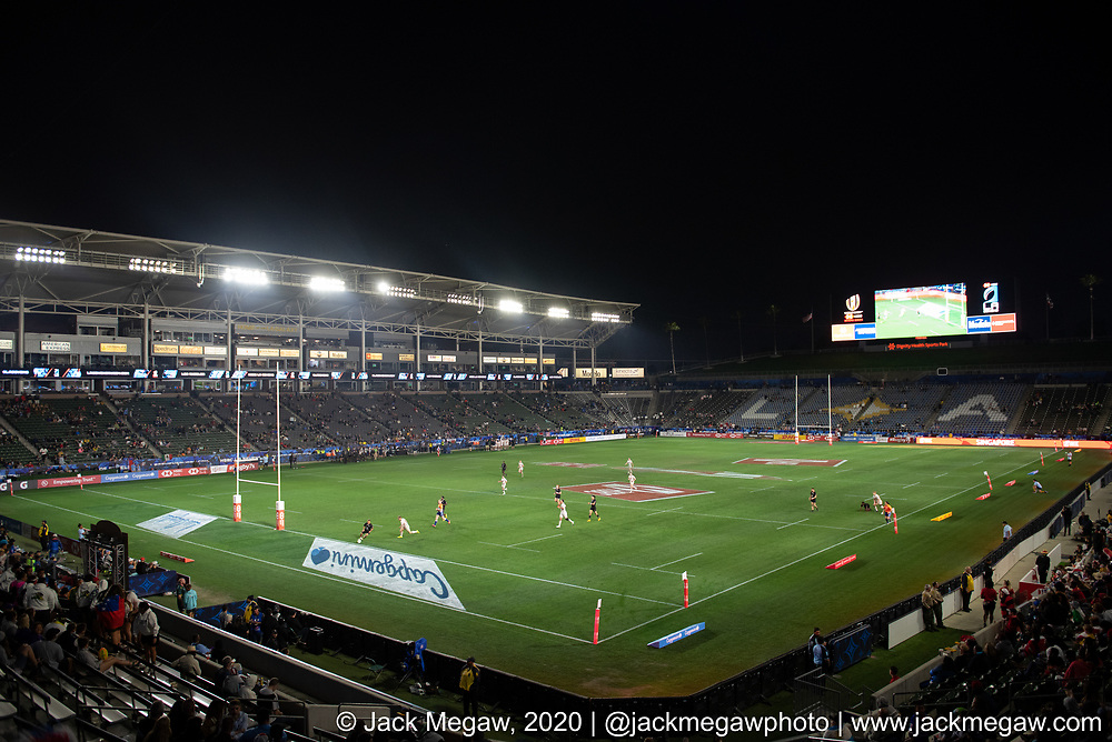 A general stadium view during the group stages of the 2020 Los Angeles Sevens at Dignity Sports Health Park in Los Angeles, California. February 29, 2019. <br /> <br /> © Jack Megaw, 2020