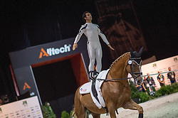 Nicolas Andreani, (FRA), Just A Kiss HN, Marina Joosten Dupon - Individuals Men Compulsory Vaulting - Alltech FEI World Equestrian Games™ 2014 - Normandy, France.<br /> © Hippo Foto Team - Jon Stroud<br /> 02/09/2014