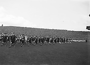 Brass band parade around the pitch before the beginning of the Kerry v Meath All Ireland Senior Gaelic Football Final, 26th September 1954. Meath 1-13 Kerry 1-7.