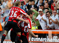 Photo: Paul Greenwood.<br />Sheffield United v West Ham United. The Barclays Premiership. 14/04/2007.<br />Sheffield's Derek Geary (L) joins in the celebrations of Michael Tonge (R) and Colin Kazim-Richards