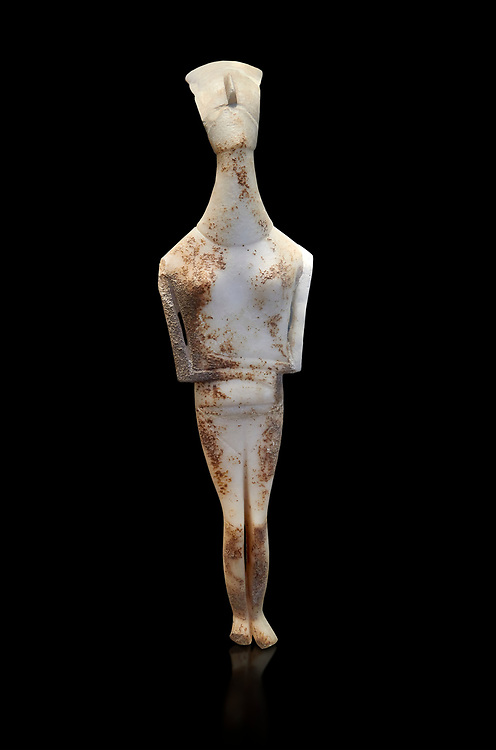 Female Cycladic statue figurine with folded arms of the Spedos and Dokathismata type. Early Cycladic Period II (2800-3200) from Amorgos. National Archaeological Museum, Athens. Black background.<br /> <br /> This Cycladic statue figurine is of the Spedos type standing on tip tie with bended knees and arms folded under the breasts with head raiised. This staue belongs to the Dokathismata type of Amorgos with an angular face, wide chest and slender outline. .<br /> <br /> If you prefer to buy from our ALAMY PHOTO LIBRARY  Collection visit : https://www.alamy.com/portfolio/paul-williams-funkystock/cycladic-art-artefacts.html Type into the LOWER SEARCH WITHIN GALLERY box to refine search by adding background colour, place, museum etc<br /> <br /> Visit our CYCLADIC CIVILISATIONS PHOTO COLLECTIONS for more photos to download or buy as wall art prints https://funkystock.photoshelter.com/gallery-collection/Cycladic-civilisation-Ancient-Greek-Artefacts-art-Photos-Pictures-Images/C0000CmevVvnC.XU