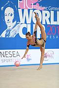 Wegscheider Natascha during qualifying at ball in Pesaro World Cup 01 April 2016. Natascha was born in Graz , Austria, 1999. She is an Austrian individual rhythmic gymnast.