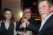KATIE WYMAN; BILL WYMAN; JOHN HURT WITH HIS LIBERATUM AWARD, Liberatum Cultural Honour  for John Hurt, CBE in association with artist Svetlana K-Lié.  Spice Market, W London - Leicester Square