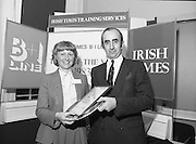 Typist Of The Year.1983.17.11.1983.11.17.1983.17th november 1983..Ms Paula Sommers won the award of Typist Of The Year which was jointly sponsored by The Irish Times and B & I Lines..Image of Ms Paula Sommers,from I.D.L,who was awarded the title of Typist Of The Year,with Mr David Dillon,Corporate Planner for the I.D.L.Group..