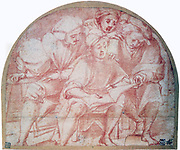 Four Singers', red crayon with traces of pencil.  Pontomoro (Jacopo Carucci 1494-1557) Italian Mannerist painter. Man seated with three others looking over his shoulder at music book.  Vocal Singing  Quartet