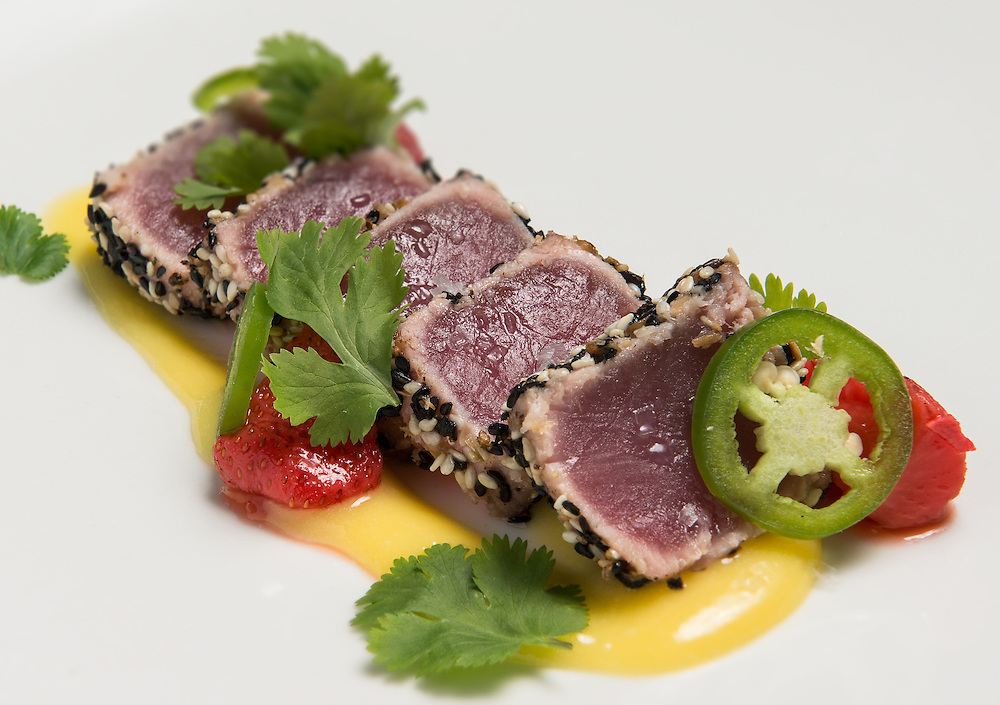 Rare Ahi Tuna dish, commercially photographed for advertising, and marketing menu. Food and Beverage Photography in Texas.