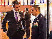 21 MAY 2012 - PHOENIX, AZ:   CONGRESSMAN BEN QUAYLE (R-AZ 3) talks to Brig. Gen. JOSE SALINAS, from the Arizona National Guard, before the US House of Representatives Committee on Homeland Security, Subcommittee on Border and Maritime Security met Monday in Phoenix to talk about ways to improve information-sharing among government law enforcement agencies to thwart the flow of illicit drugs from Mexico into Arizona. Republican Congressman Paul Gosar and Ben Quayle, both from Arizona, and Democratic Congresswoman Sheila Jackson Lee, from Texas, attended the meeting.               PHOTO BY JACK KURTZ