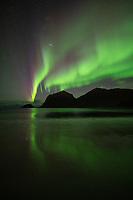 Northern lights reflection on Vik beach, Vestvågøy, Lofoten Islands, Norway