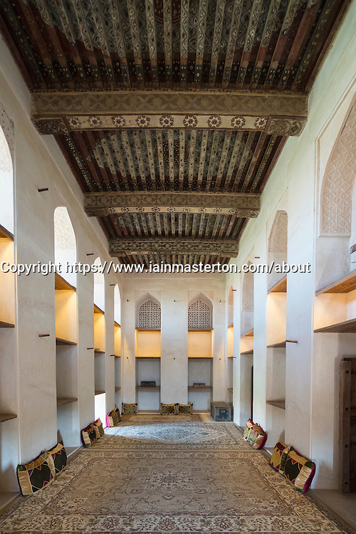 Interior of Sun and Moon Room at Jabrin Fort in Oman