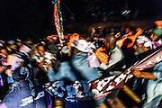 NOUVELLE CALEDONIE, Canala - Coutume du mariage Kanak - Fete du mariage, danse du Pilou autour du mat  qui liera les deux clans Il est planté par le  clan des hommes, et sera emporte au matin par le clan de la femme -  Aire Coutumiere de XARACUU - Canala - Tribu de Nanon-Kenerou - Le Caillou - Septembre 2013