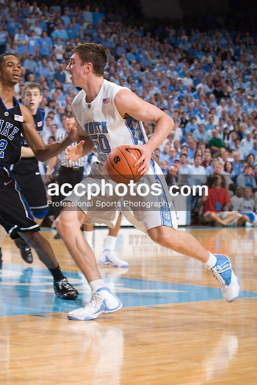 06 February 2008: North Carolina Tar Heels forward Tyler Hansbrough (50) during a 89-78 loss to the Duke Blue Devils at the Dean Smith Center in Chapel Hill, NC.
