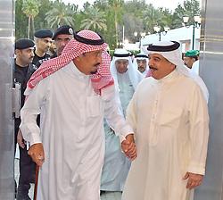 King Salman Bin Abdelaziz Al Saud (left) receives Bahrain's King Hamad Bin Issa Al Khalifa in Jeddah, Saudi Arabia, on June 7, 2017 in talks to solve issue between Saudi Arabia and allies and Qatar. Photo by Balkis Press/ABACAPRESS.COM