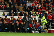 Chris Coleman, the Wales manager controls the ball on the touchline. Wales v Rep of Ireland , FIFA World Cup qualifier , European group D match at the Cardiff city Stadium in Cardiff , South Wales on Monday 9th October 2017. pic by Andrew Orchard, Andrew Orchard sports photography