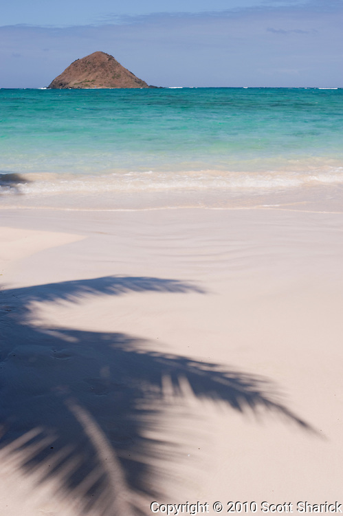 A Mokulua Island and shadow of palm tree in the sand.