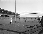 View of the pitch from the back of the goal during the All Ireland Senior Gaelic Football Final Kerry v Dublin in Croke Park on the 25th September 1955. Kerry 00-12 Dublin 01-06.