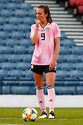 Caroline WEIR (Manchester City WFC (ENG)) stands over the free kick during the International Friendly match between Scotland Women and Jamaica Women at Hampden Park, Glasgow, United Kingdom on 28 May 2019.