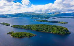 Aerial view of islands in Loch Lomond. Nearest Clairinsh, Inchcailloch and Inchfad in Loch Lomond and The Trossachs National Park,, Scotland, UK