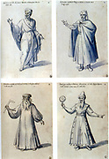 Costume design for classical figures. Top L: Cicero. Top R: Euclid. Bottom L: Archimedes. Bot. R: Ptolemy of Alexandria. Guiseppe Arcimboldo (c1530-1593) Italian painter. Pen, blue ink and watercolour on paper.