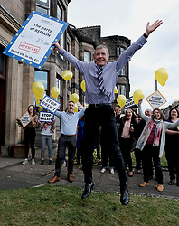 "Scottish Liberal Democrats celebrate English local election results with ""champagne moment"" and confetti cannons, Friday 3rd May 2019<br /> <br /> Scottish Liberal Democrat leader Willie Rennie and European election candidates celebrate the big gains made by Liberal Democrat colleagues overnight in the English local elections and send a message that in every corner of the UK, Liberal Democrats are the party of Remain,  leading the way in fighting to make the chaos of Brexit stop.<br /> <br /> Pictured: Willie Rennie does star jumps<br /> <br /> Alex Todd 