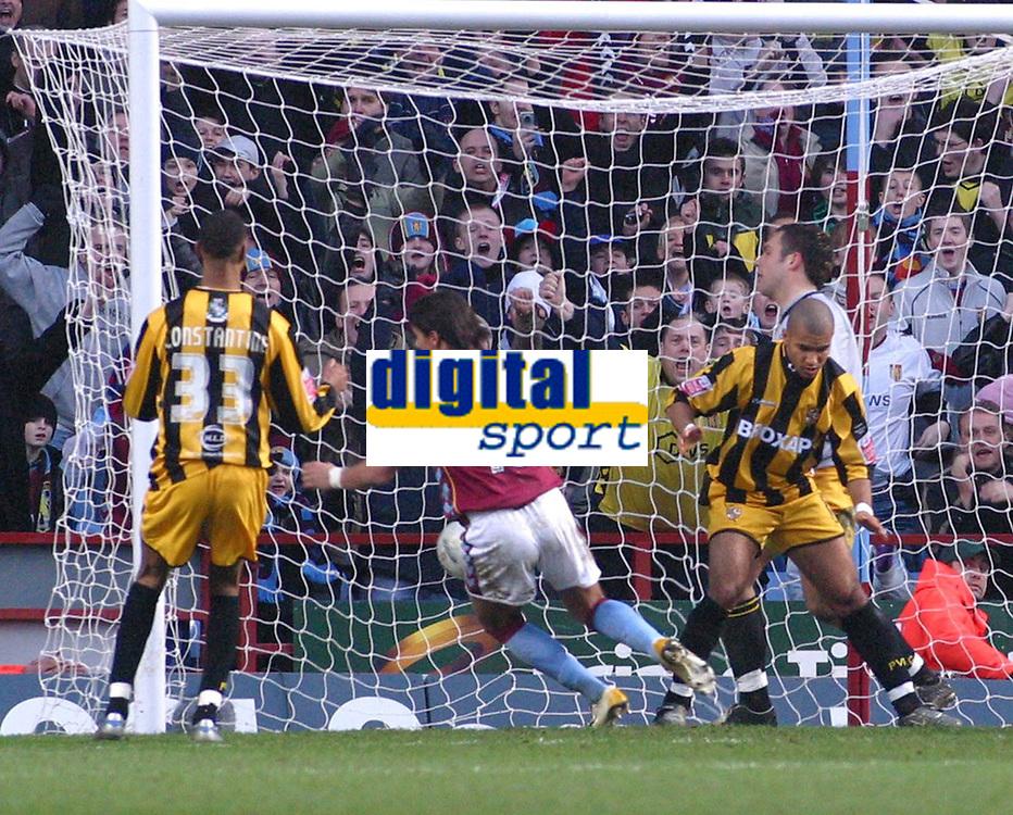 Photo: Dave Linney.<br />Aston Villa v Port Vale. The FA Cup. 28/01/2006.Aston Villa's Milan Baros(C) makes it 2-0 to Villa.