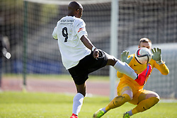 Edinburgh City's Ortega Deniran scoring their goal. <br /> Edinburgh City 1 v 1 Brora Rangers, 1st leg, Pyramid Playoffs at Meadowbank, 25/4/2015.