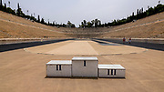 The original Panathenaic, (Olympic)Stadium in Athens with contemporary winner's platform for Instagram selfies. Stadium originally made entirely out of marble