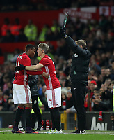Football - 2016 / 2017 League [EFL] Cup - Quarter-Final: Manchester United vs. West Ham United<br /> <br /> Bastian Schweinsteiger of Manchester United replaces Anthony Martial of Manchester United during the match at Old Trafford.<br /> <br /> COLORSPORT/LYNNE CAMERON