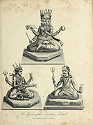 The Gods of The Indian Triad. Brahma, Vishnu and Siva  Copperplate engraving From the Encyclopaedia Londinensis or, Universal dictionary of arts, sciences, and literature; Volume X;  Edited by Wilkes, John. Published in London in 1811