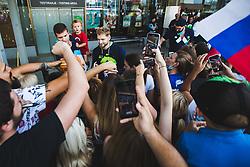 Edo Muric, Jaka Blazic with fans during arrival of Slovenian national team from Tokio 2020 Olympic games, 8. August 2021, Airport Jozeta Pucnika, Ljubljana, Slovenia. Photo by Grega Valancic