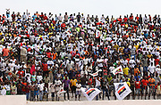 """Supporters at the 1st """"Grand Prix"""" Zé Dú, organized by the Angolan Federation of Automobile , as a tribute to Jose Eduardo dos Santos, MPLA candidate and actual Angolan President, took place today 26th August at Autódromo Internacional de Luanda. The elections in Angola will have place on 31st August"""