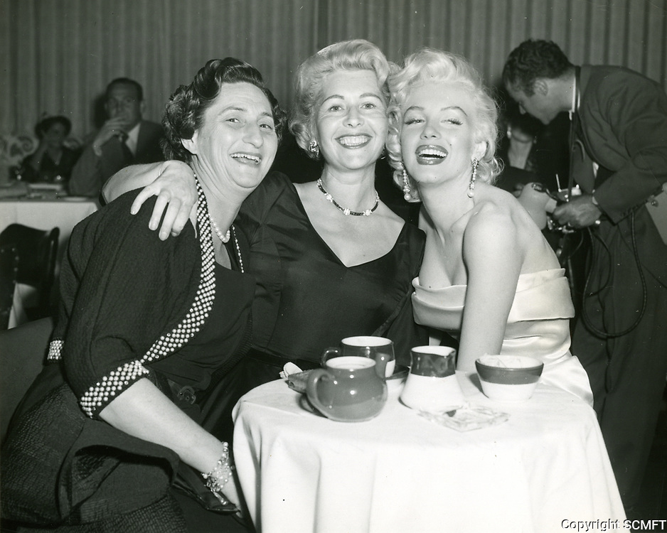 1956 (L to R) Sybil Brand, Sheilah Graham, and Marilyn Monroe at Ciro's Nightclub