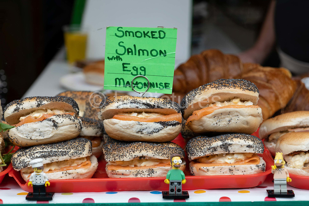 A bakery selling fresh bagels on Columbia Road during Columbia Road Flower Market on the 6th October 2019 in London in the United Kingdom. Columbia Road Flower Market is a street market in Bethnal Green in Hackney, London. The market is open on Sundays only.
