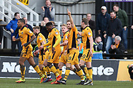 Mickey Demetriou of Newport county (28   2nd right) celebrates with his teammates after he scores his teams 1st goal. EFL Skybet football league two match, Newport county v Crawley Town at Rodney Parade in Newport, South Wales on Saturday 1st April 2017.<br /> pic by Andrew Orchard, Andrew Orchard sports photography.