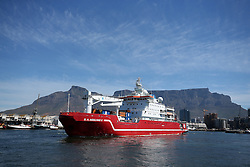 The SA Agulhas II sets sail from Cape Town harbour for Antarctica. Aboard the research vessel are the SANAE 56 expedition team, the Department of Environmental Affairs support team, members of the Department of Public Works who will continue with the second year of a three year refurbishment project at the SANAE IV base, as well as scientists & researchers from various institutions. Cape Town, South Africa on the 30 November 2016.<br /> <br /> Photo by Shaun Roy/RealTime Images