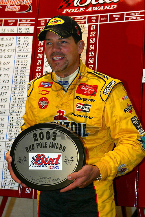 Steve Park receives his award for winning the Bud Pole at the California Speedway for the running of the Auto Club 500 NASCAR Winston Cup race in Fontana, California.