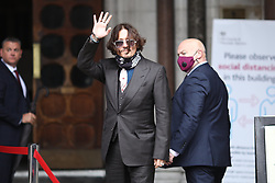 © Licensed to London News Pictures. 08/07/2020. London, UK. Johnny Depp arrives at The High Court in Central London for the second day of the trial. Johnny Depp's libel trial against The Sun newspaper is due to take place over the next three weeks over allegations he was violent and abusive towards his ex-wife Amber Heard. Photo credit: Rob Pinney/LNP