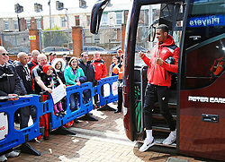 Bristol City fans greet the players as they arrive at Ewood Park - Mandatory by-line: Matt McNulty/JMP - 23/04/2016 - FOOTBALL - Ewood Park - Blackburn, England - Blackburn Rovers v Bristol City - Sky Bet Championship