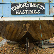 Fishing boat on the beach , hastings, East wessex, England